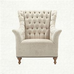 graceful tufting, an elongated back, gently flared arms and nailhead detail combine to create this stunning chair. fiona's fabric, a creamy vintage c