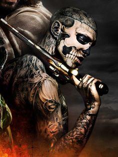Картинка с тегом «tattoo, gun, and zombie boy»