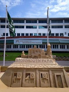 Awesome sandcastle in front of Monmouth Park