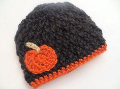 Halloween Pumpkin Hat for girl or boy baby infant by CrochetToZ