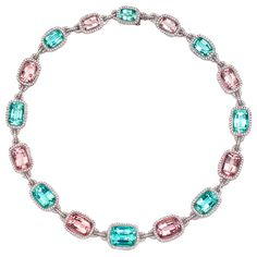 LAURA MUNDER Mint Green Tourmaline,Morganite and Diamond Necklac   From a unique collection of vintage choker necklaces at http://www.1stdibs.com/jewelry/necklaces/choker-necklaces/