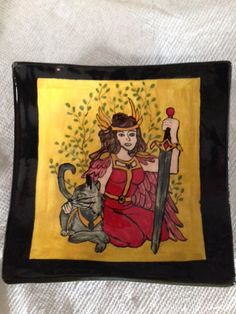 6 inch plate with goddess Freya and her cat