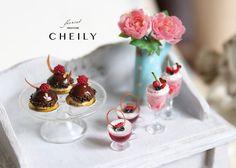 Dollhouse миниатюрный Продовольственные Один Шоколадный Малина Dome торт