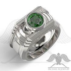 #greenlantern #geekgifts #goldring #silverring #gift #mensring #weddingband #greenstonering #geek  #free shipping @ Michaelmjewelry.com