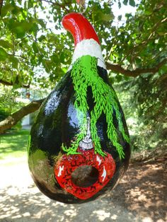 The Grinch Hand Painted Gourd Birdhouse d by DesignsbySugarbear, $79.99 on Etsy Unique Birdhouse & Decoration Hand Painted & Crafted a very Fun Grinch Birdhouse!