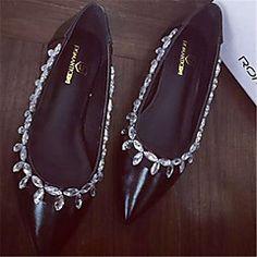Chaussures Femme - Décontracté - Noir / Blanc - Talon Plat - Bout Pointu - Plates - Similicuir