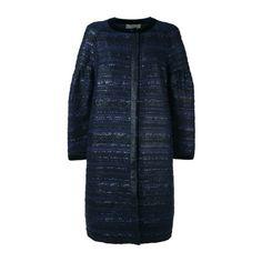ALBERTA FERRETTI Blue Silk-Wool Tweed Coat ($2,054) ❤ liked on Polyvore featuring outerwear, coats, blue, blue coat, silk coat, alberta ferretti, blue wool coat and alberta ferretti coat