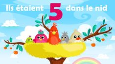 Ils étaient 5 dans le nid - French Nursery Rhyme for kids and babies (wi... Kids Nursery Rhymes, Rhymes For Kids, French Numbers, Chant, Pikachu, Singing, Learning, Films, Names