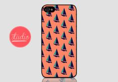 SAILBOAT pattern - iPhone 4/4s and iPhone 5/5s case  #sailboat #nautical #trendy #phonecase #iphone #name #personalized #monogram #case #pattern #peach #boat