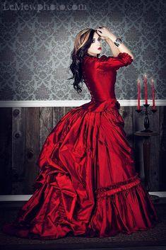 gothic red wedding dress