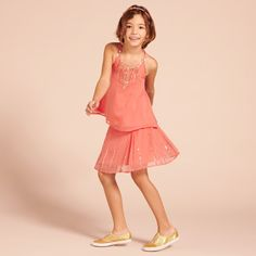 Holly Skirt - Coral - Girls Partywear - Girls 2-15YRS