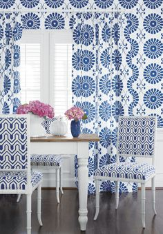 Sun Garden #wallpaper and coordinating embroidered #fabric, Darien Chairs in Montserrat fabric from the Resort Collection by #Thibaut