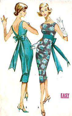 1950s cocktail dress sewing pattern illustrations.