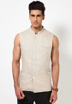 Linen Solid Cream Nehru Jacket at $45.60 (24% OFF)