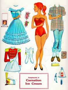 When I was little I had lots of paper dolls.  Later I learned to draw my own.