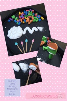Using shaving foam as 'concrete' when building with foam bricks. 3 Little Pigs Activities, Fairy Tale Activities, Activities For 1 Year Olds, Eyfs Activities, Maths Eyfs, Eyfs Classroom, Traditional Tales, Traditional Stories, Tuff Spot
