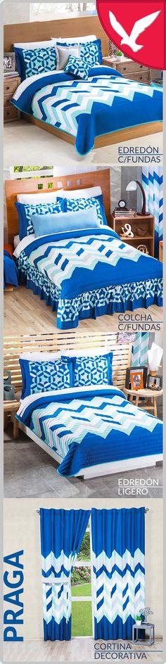 💙 una colección que brindará frescura a tu habitación💙 Decorative Curtains, Furniture, Prague, Cases, Blue Nails, Home