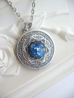 Blue Fire Opal LOCKET, Filigree Locket, Antiqued Locket, Silver Locket Necklace, Blue Jewelry, Antique Jewelry, Milky Way,Mothers Day Gifts on Etsy, $465.12