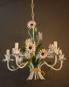 Italian Tole Floral Flower Chandelier 1940s Gorgeous