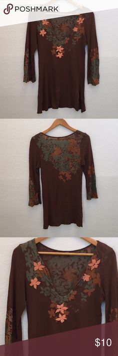 Anthropologie language v neck top Has pinpoint holes to front as shown in picture, it's a long top- perhaps you want to cut it up, make it a crop top or wear as is distressed! Still super cute Anthropologie Tops