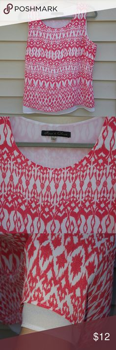 5 for $10      Top Fully lined sleeveless top. Coral and white. Very breezy  and beautiful Rose & Olive Tops Blouses