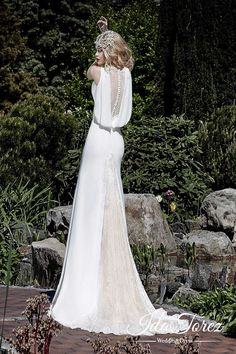 Chic Trumpet-Mermaid Jewel Natural Sweep-Brush Train Stretch Crepe Ivory/Dark Champagne Sleeveless Buttons Wedding Dress Beading 01017#Cocomelody#weddingdress#bridalgown#