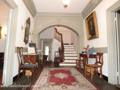 The main foyer of the historic Burrowes Mansion, located in Matawan, NJ. Built in 1723, this Georgian style mansion was built by John Bowne, III. In 1769, it was purchased by John Burrowes, Sr. The home played a part in a Revolutionary War skirmish in May of 1776. Discover more history at www.thehistorygirl.com