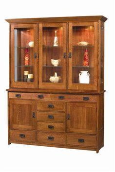 Amish Craftsman Mission Hutch China Cabinet 3956