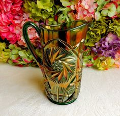Beautiful Antique Cambridge Carnival Glass Water Pitcher ~ Double Star ~ Green #Cambridge