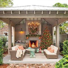 Covered patio designs with fireplace fire pit covered backyard outdoor fireplace southern living glowing outdoor fireplaces Outdoor Fireplace Designs, Backyard Fireplace, Backyard Patio, Backyard Landscaping, Fireplace Ideas, Outdoor Fireplaces, Stucco Fireplace, Outside Fireplace, Desert Backyard