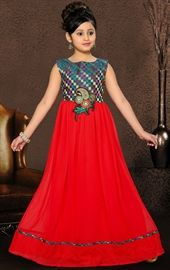 Picture of Gleaming Red Color Kids Gown