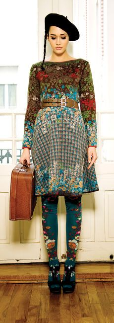 Ivko...folk gypsy ethnic style on the move what a great travel fashion style for all frida kahlo and flower lovers want those tights
