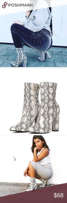 🆕 Bryce Vegan Snake Skin Print Ankle Booties New Boutique Item! The latest bootie trend with celebs like Kylie Jenner and Kim Kardashian! Great for festivals! These booties feature a Vegan leather material + vegan suede upper, all over snake print, Pointy Toe, chunky heel, and 4.25 heel height. Shoes Ankle Boots & Booties