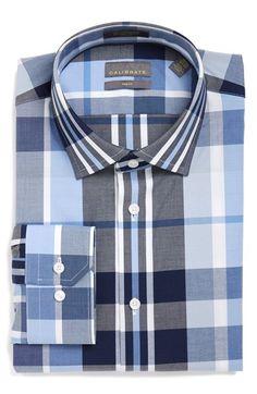 Calibrate Trim Fit Non-Iron Plaid Stretch Dress Shirt