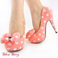 Pink and White Polka Dot Heels  http://www.chiq.com/pink-white-polka-dots-bow-eve-platform-shoes