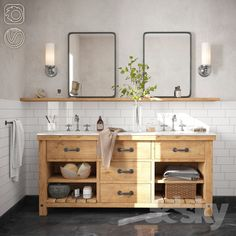 double sink bathroom vanity tips and trick choosing vanity for the modern bathroom for look cleaning Rustic Bathroom Vanities, Double Sink Bathroom, Double Sink Vanity, Bathroom Sink Vanity, Wood Bathroom, Bathroom Layout, Bathroom Interior Design, Bathroom Furniture, Modern Bathroom