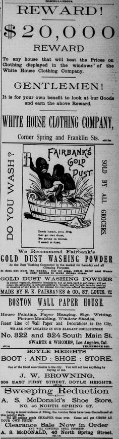 Racist advertisement for Gold Dust Washing Powder, from 1888 newspaper
