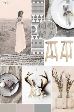 I like the antler (or we could use the wood in my bathroom) with flower hooked to it....just laying on a table