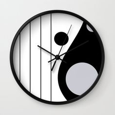 Lines and Curves - Black & White - Set 1 Wall Clock by laec Clocks, Curves, Black And White, Creative, Wall, Artwork, Home Decor, Work Of Art