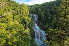 Upper Whitewater Falls in Nantahala National Forest, NC. Transylvania County, North Carolina is known as Land of Waterfalls for good reason, as there are 250 unique cascades within a short drive of each other. Upper Whitewater Falls on the Whitewater River south of Sapphire is perhaps the most spectacular. There are two distinct overlooks of the 411 foot plunge taken by the river on its path to Lake Jocassee. Nantahala National Forest has developed a small park with family ameniti