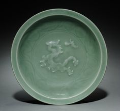 Dish with Dragon Pursuing Flaming Jewel in Relief, Longquan Ware, early 14th Century, China, Zhejiang province, Yuan dynasty