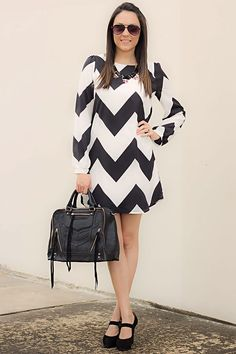 Black and white chevron dress for work and play!  Get 10% off your first purchase via this link: http://www.modernego.com/?r=2332