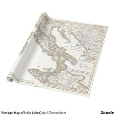 Vintage Map of Italy (1850) Wrapping Paper