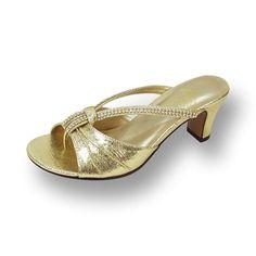 06145a96e4c3 Floral FIC Chrissy Women Wide Width Shiny Slip On Heeled Dress Sandals  %28Size%2FMeasurement