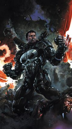 The Punisher is going to don James Rhodes' War Machine armor for Marvel Legacy. Punisher Marvel, Marvel Dc Comics, Hq Marvel, Marvel Heroes, Daredevil, Captain Marvel, Comic Book Characters, Comic Character, Comic Books Art