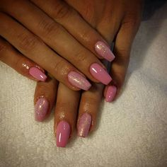 Pink gel nails with mermaid 2016