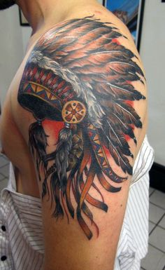 Native indian tattoo sleeve - Tribal tattoos aren't only charming but they're also symbolic. If you're interested in receiving a tribal tattoo, you a. Indian Chief Tattoo, Indian Headdress Tattoo, Indian Women Tattoo, Native Indian Tattoos, Indian Skull Tattoos, Tribal Tattoos For Women, Tribal Shoulder Tattoos, Native American Tattoos, Native American Headdress