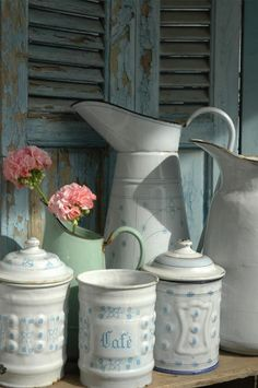 blue and white, pale green antique enamelware