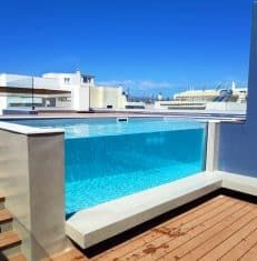 Shipping Container Swimming Pool, Hotel Room Design, Window Types, Acrylic Panels, Side Window, Window Design, Beach Hotels, All Over The World, Palm Beach