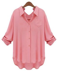 OL estilo manga longa de cor sólida High-Low Hem shirt para as Mulheres